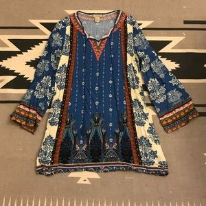 Flying Tomato Blue Psychedelic Peasant Style Dress